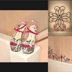 NWOT Gianmarco Lorenzi Snakeprint Couture Heels